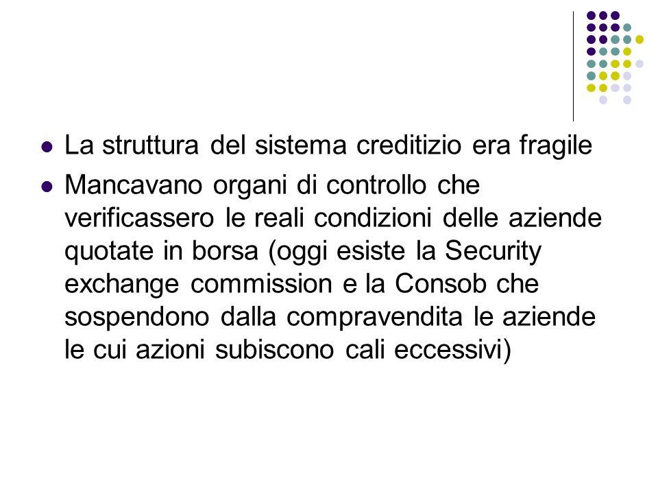 La struttura del sistema creditizio era fragile