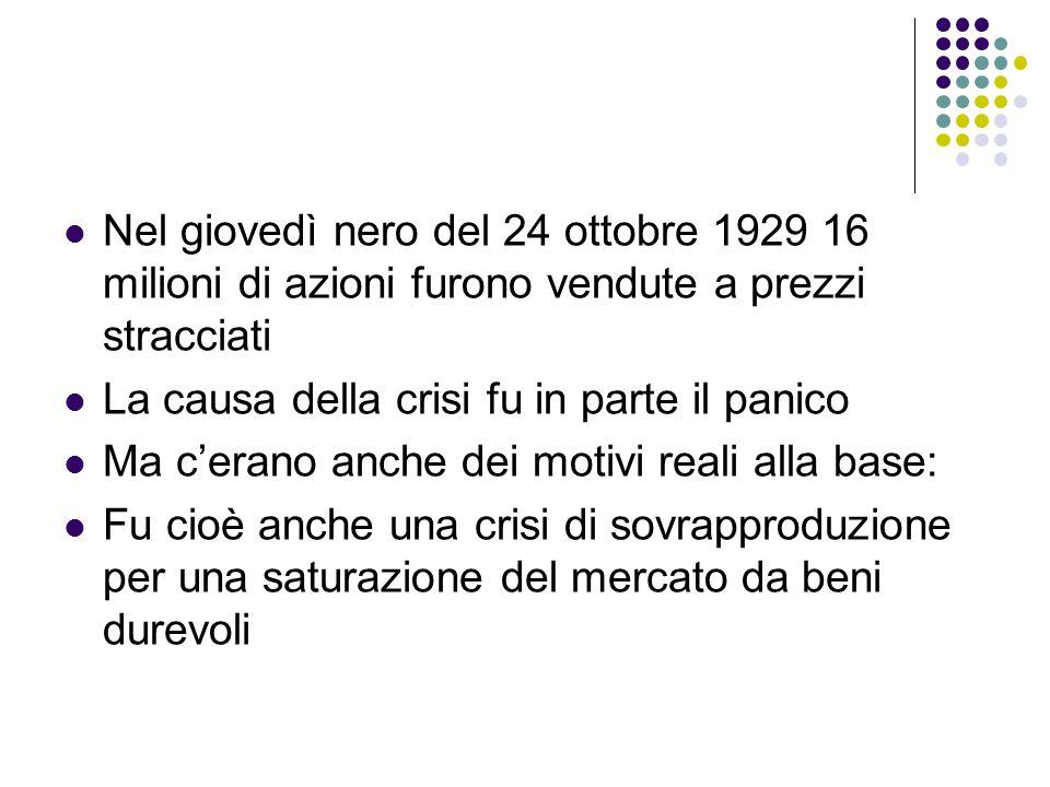 Nel giovedì nero del 24 ottobre 1929 16 milioni di azioni furono vendute a prezzi stracciati