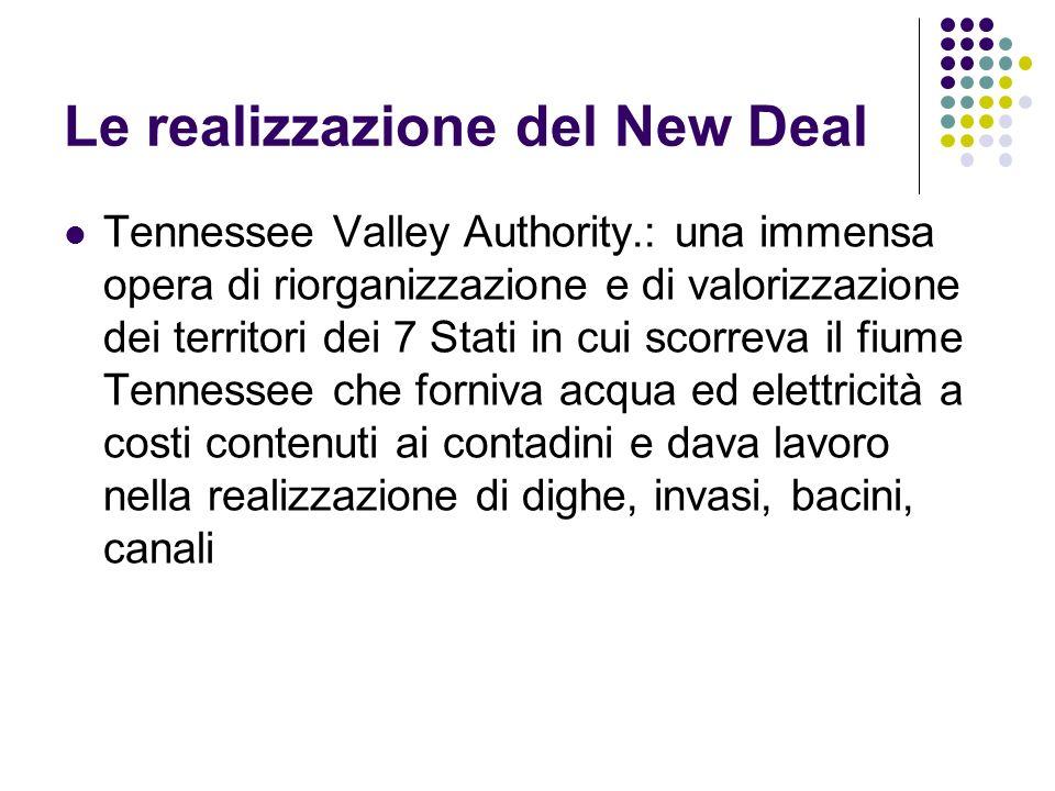 Le realizzazione del New Deal