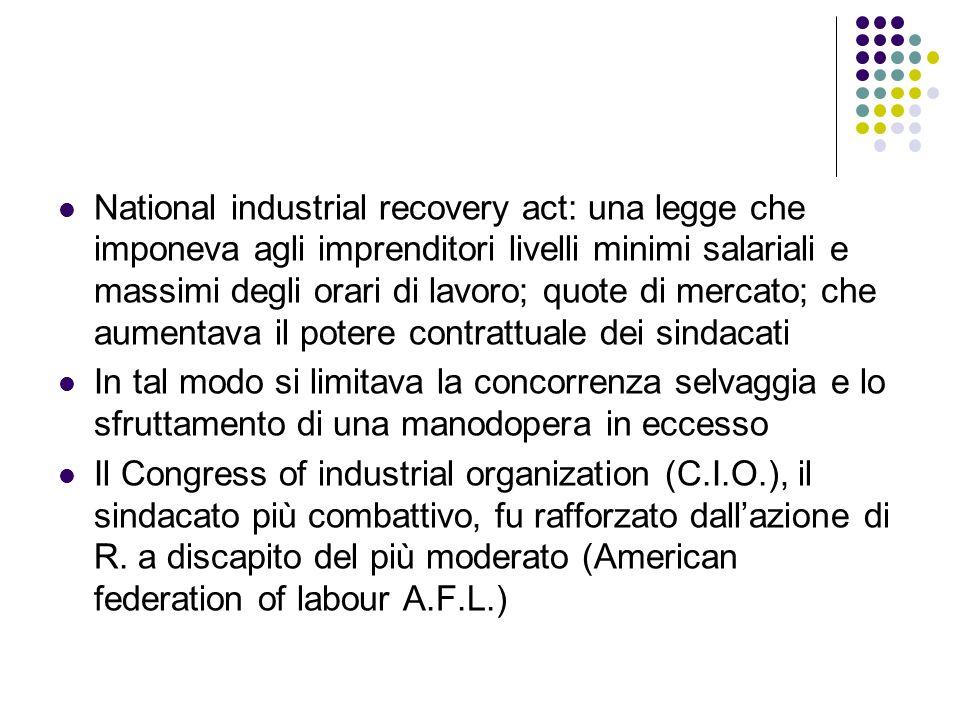 National industrial recovery act: una legge che imponeva agli imprenditori livelli minimi salariali e massimi degli orari di lavoro; quote di mercato; che aumentava il potere contrattuale dei sindacati