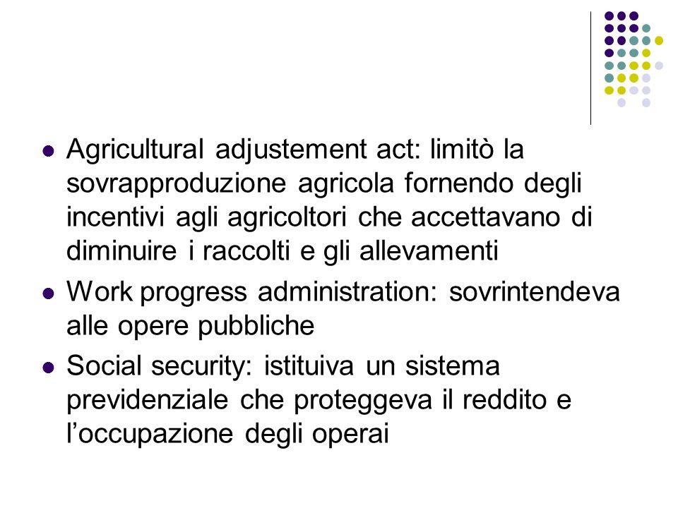 Agricultural adjustement act: limitò la sovrapproduzione agricola fornendo degli incentivi agli agricoltori che accettavano di diminuire i raccolti e gli allevamenti