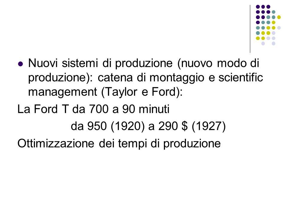 Nuovi sistemi di produzione (nuovo modo di produzione): catena di montaggio e scientific management (Taylor e Ford):