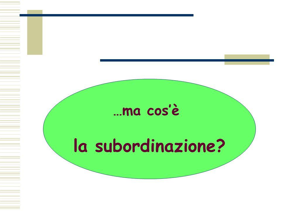 …ma cos'è la subordinazione