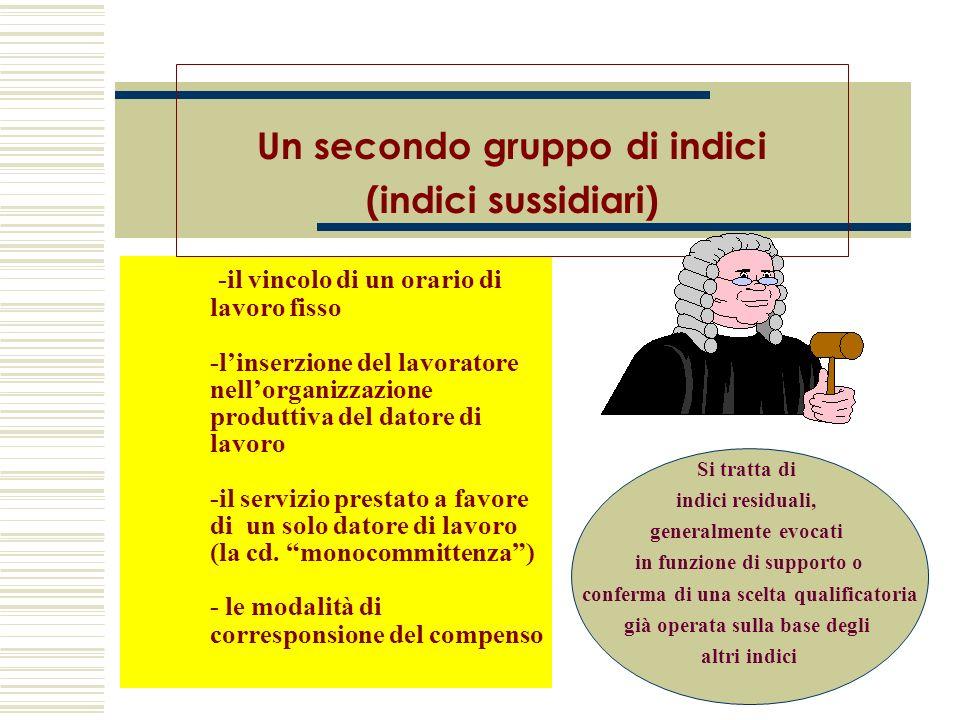 Un secondo gruppo di indici (indici sussidiari)