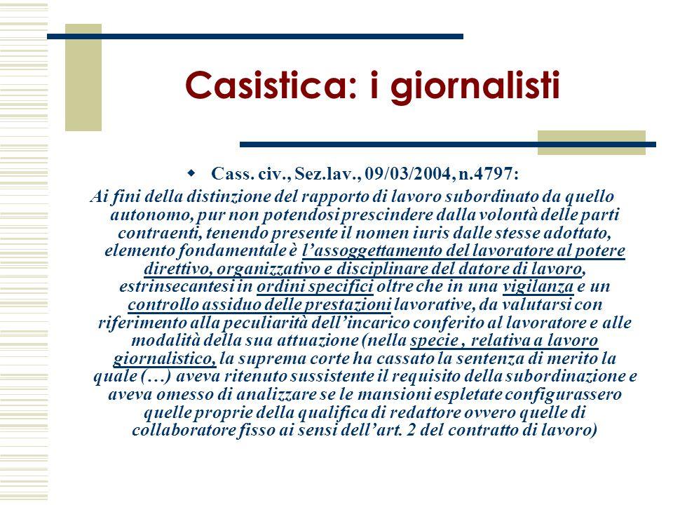 Casistica: i giornalisti
