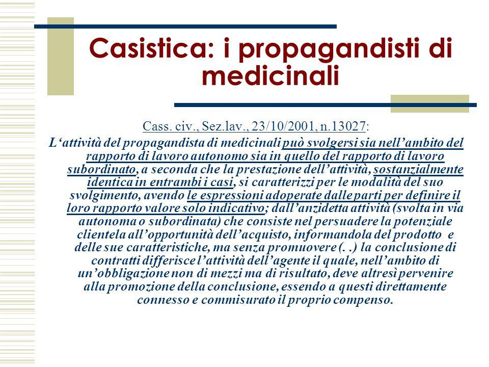 Casistica: i propagandisti di medicinali