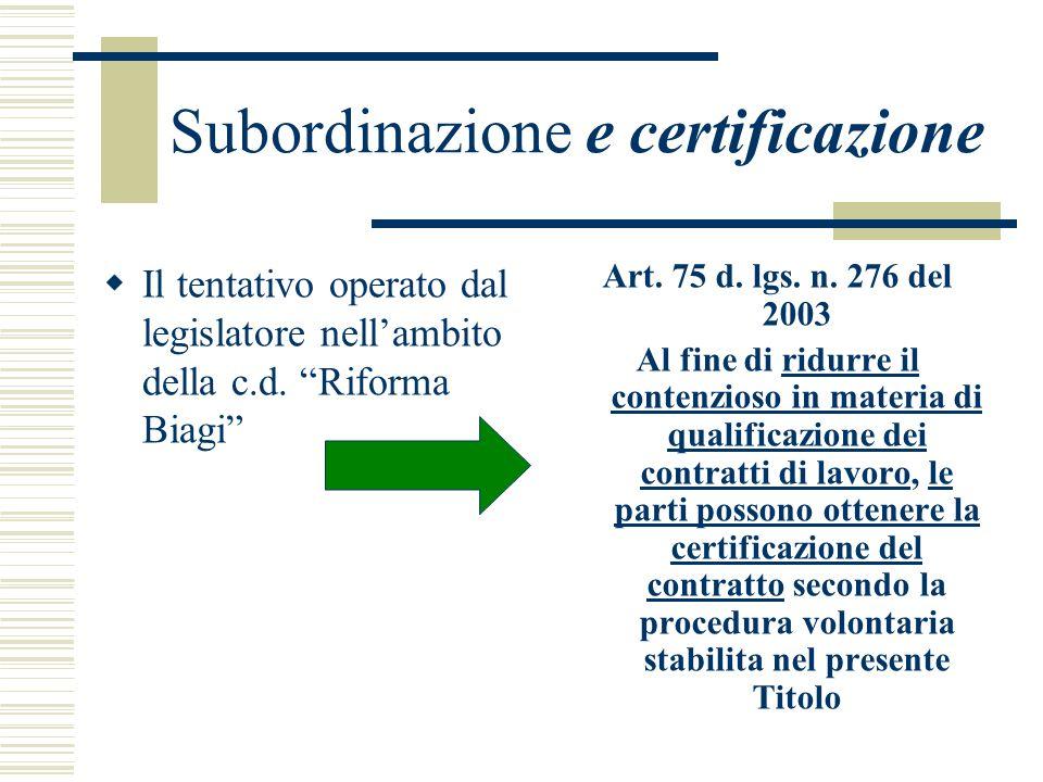 Subordinazione e certificazione