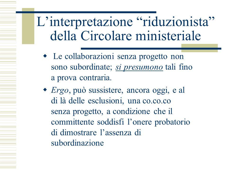 L'interpretazione riduzionista della Circolare ministeriale