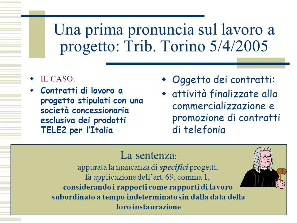 Una prima pronuncia sul lavoro a progetto: Trib. Torino 5/4/2005