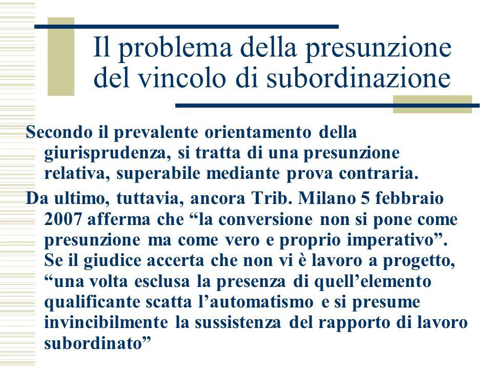 Il problema della presunzione del vincolo di subordinazione