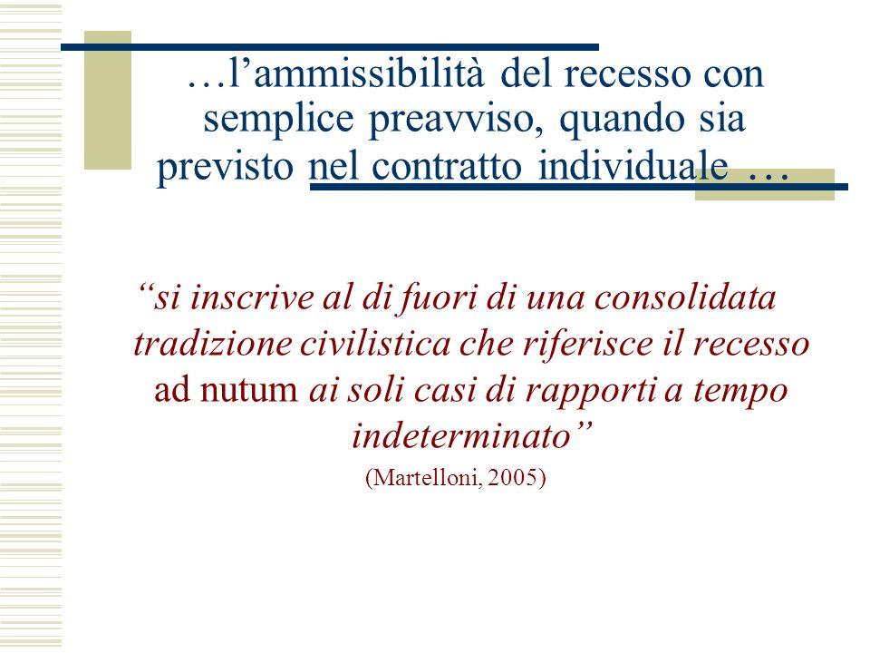 …l'ammissibilità del recesso con semplice preavviso, quando sia previsto nel contratto individuale …