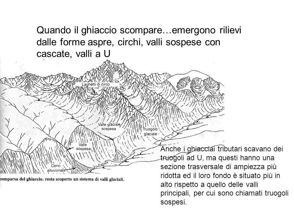 Quando il ghiaccio scompare…emergono rilievi dalle forme aspre, circhi, valli sospese con cascate, valli a U