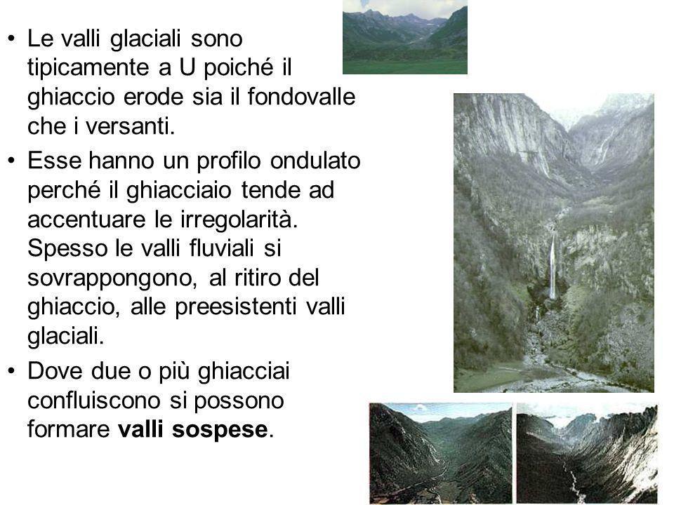 Le valli glaciali sono tipicamente a U poiché il ghiaccio erode sia il fondovalle che i versanti.