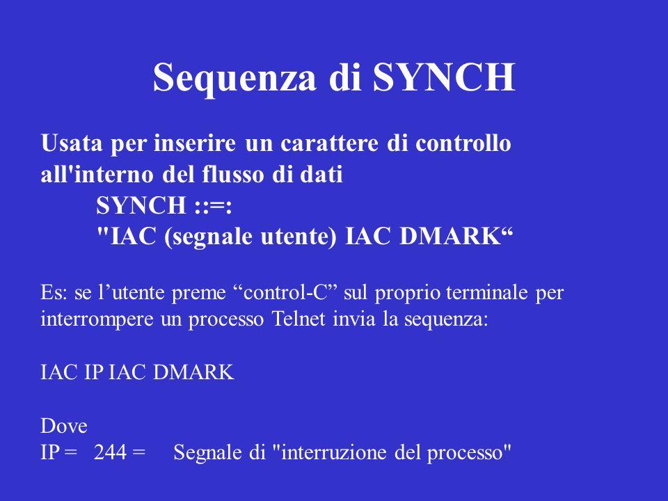 Sequenza di SYNCH Usata per inserire un carattere di controllo all interno del flusso di dati. SYNCH ::=:
