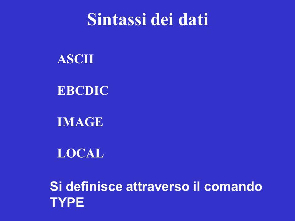 Sintassi dei dati ASCII EBCDIC IMAGE LOCAL