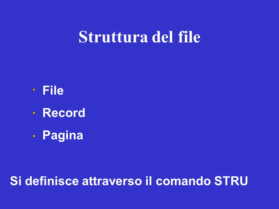 Struttura del file File Record Pagina