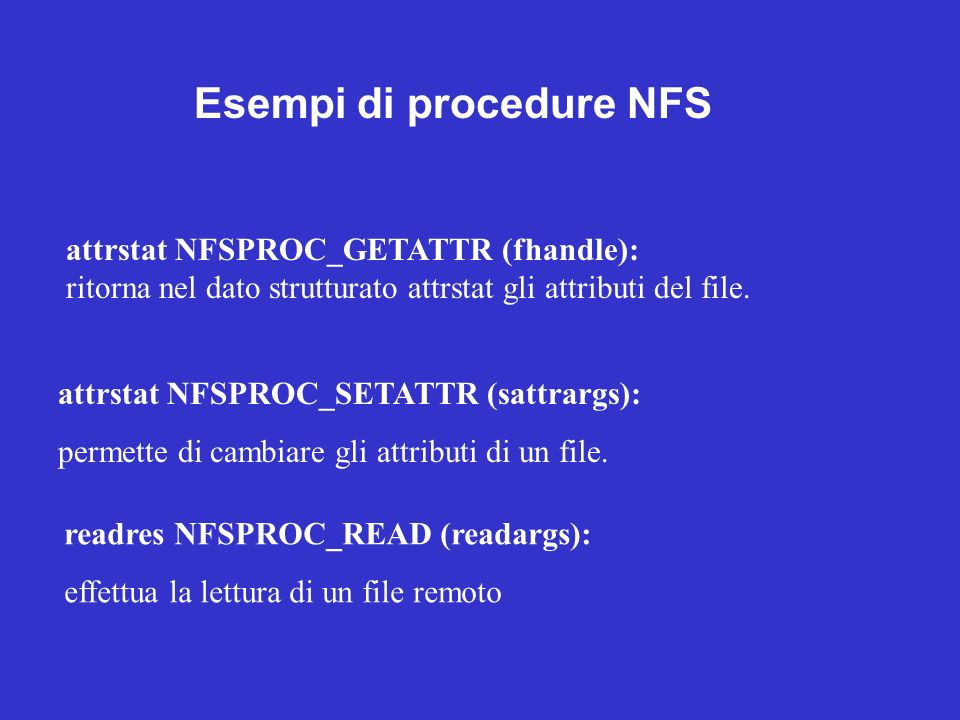 Esempi di procedure NFS