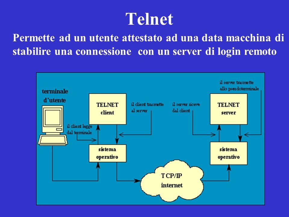 Telnet Permette ad un utente attestato ad una data macchina di stabilire una connessione con un server di login remoto.