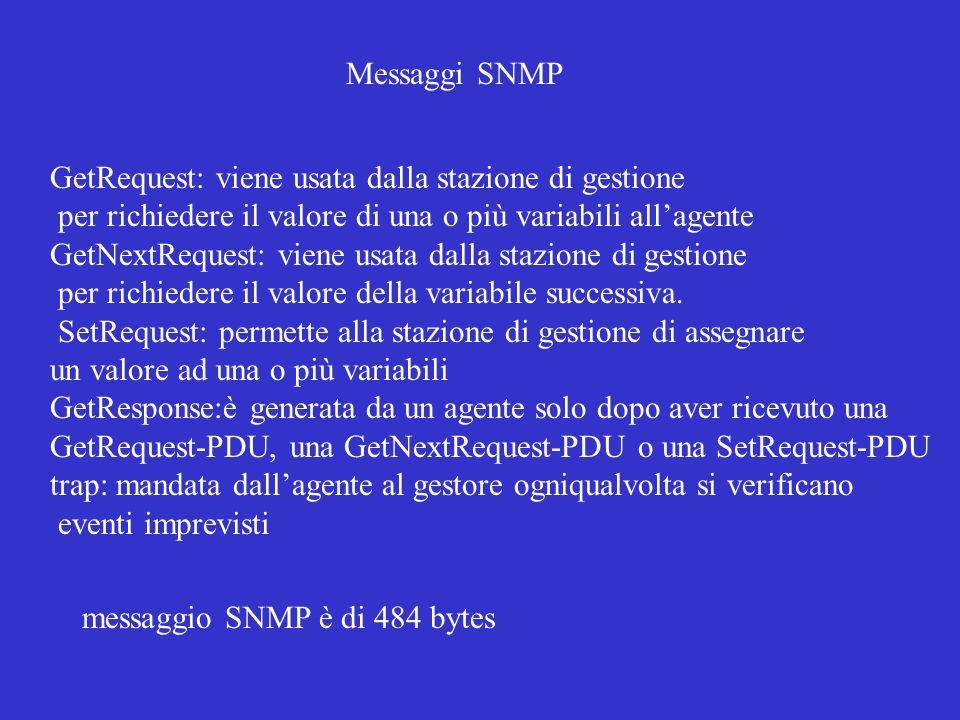 Messaggi SNMP GetRequest: viene usata dalla stazione di gestione. per richiedere il valore di una o più variabili all'agente.