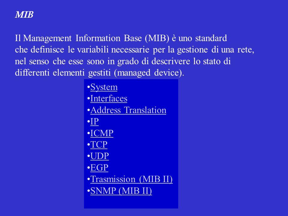 MIB Il Management Information Base (MIB) è uno standard. che definisce le variabili necessarie per la gestione di una rete,