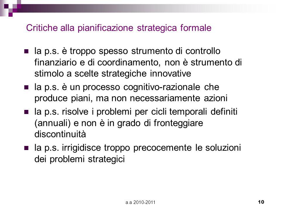 Critiche alla pianificazione strategica formale