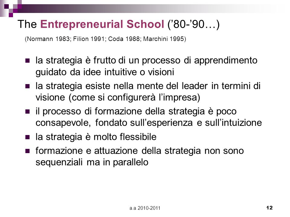 The Entrepreneurial School ('80-'90…)