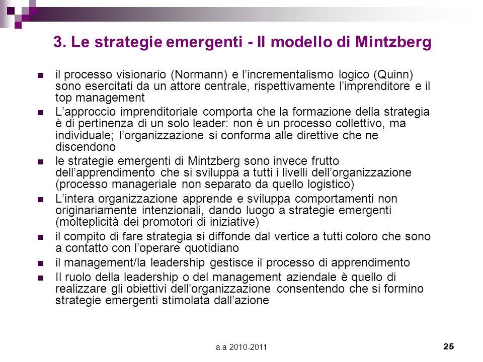 3. Le strategie emergenti - Il modello di Mintzberg