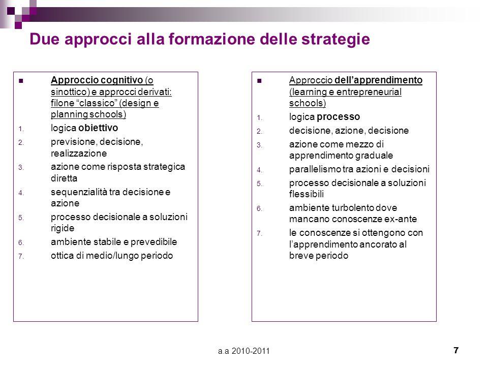 Due approcci alla formazione delle strategie