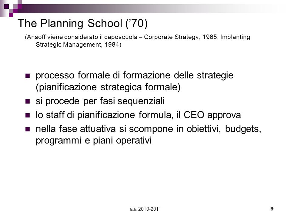 The Planning School ('70)