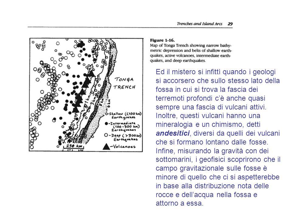 Ed il mistero si infittì quando i geologi si accorsero che sullo stesso lato della fossa in cui si trova la fascia dei terremoti profondi c'è anche quasi sempre una fascia di vulcani attivi.