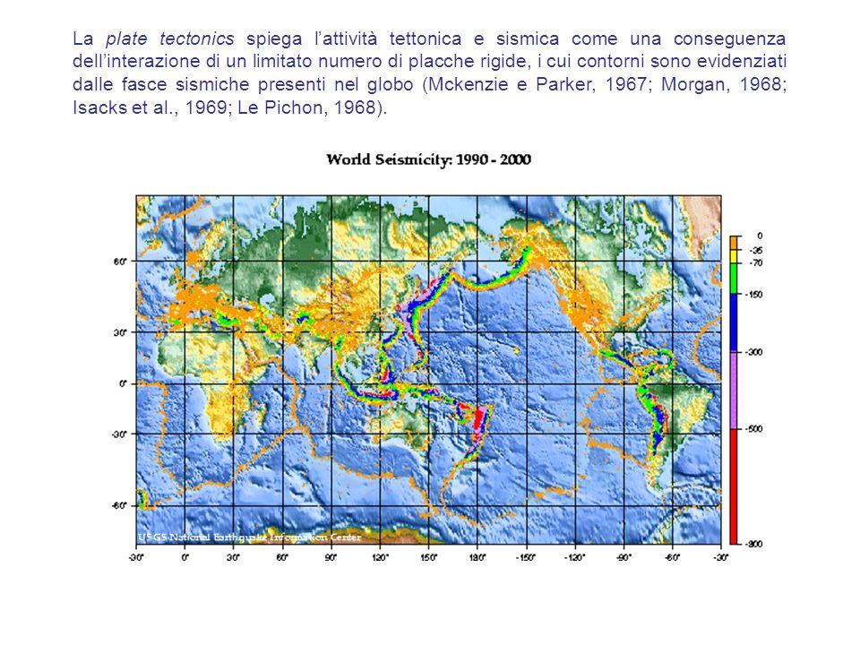 La plate tectonics spiega l'attività tettonica e sismica come una conseguenza dell'interazione di un limitato numero di placche rigide, i cui contorni sono evidenziati dalle fasce sismiche presenti nel globo (Mckenzie e Parker, 1967; Morgan, 1968; Isacks et al., 1969; Le Pichon, 1968).