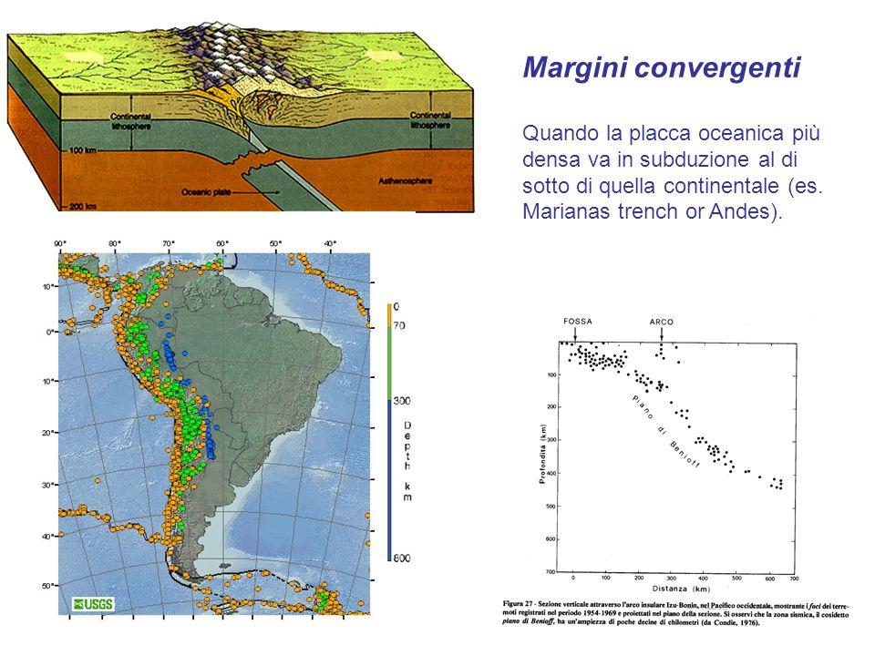 Margini convergenti Quando la placca oceanica più densa va in subduzione al di sotto di quella continentale (es.
