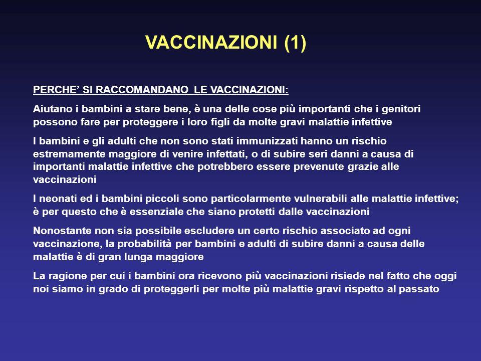 VACCINAZIONI (1) PERCHE' SI RACCOMANDANO LE VACCINAZIONI: