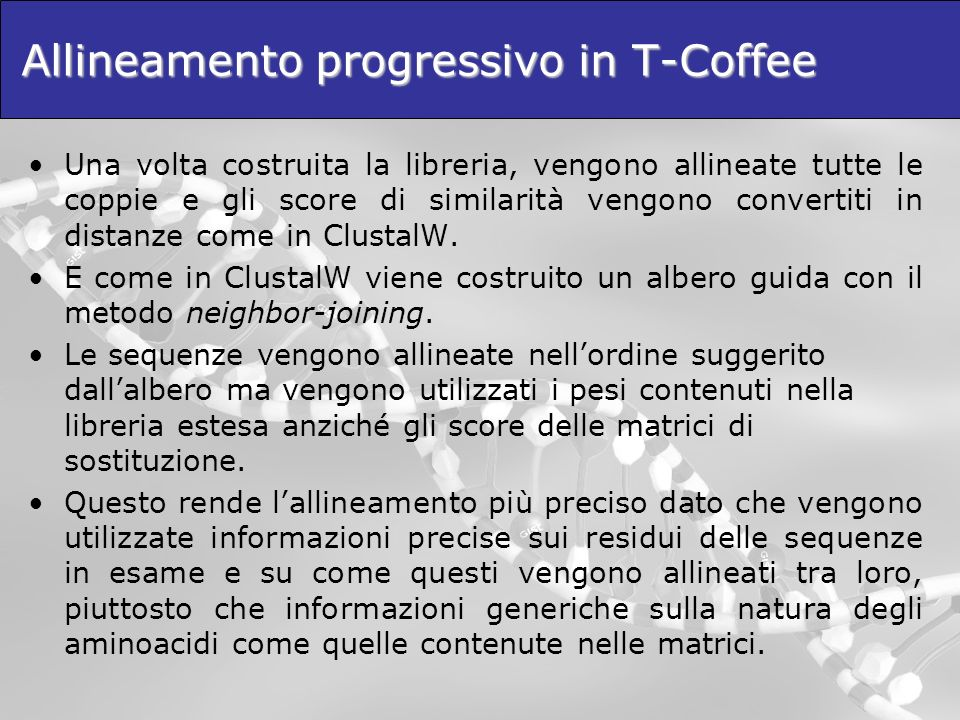 Allineamento progressivo in T-Coffee