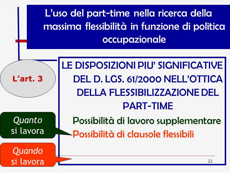L'uso del part-time nella ricerca della massima flessibilità in funzione di politica occupazionale
