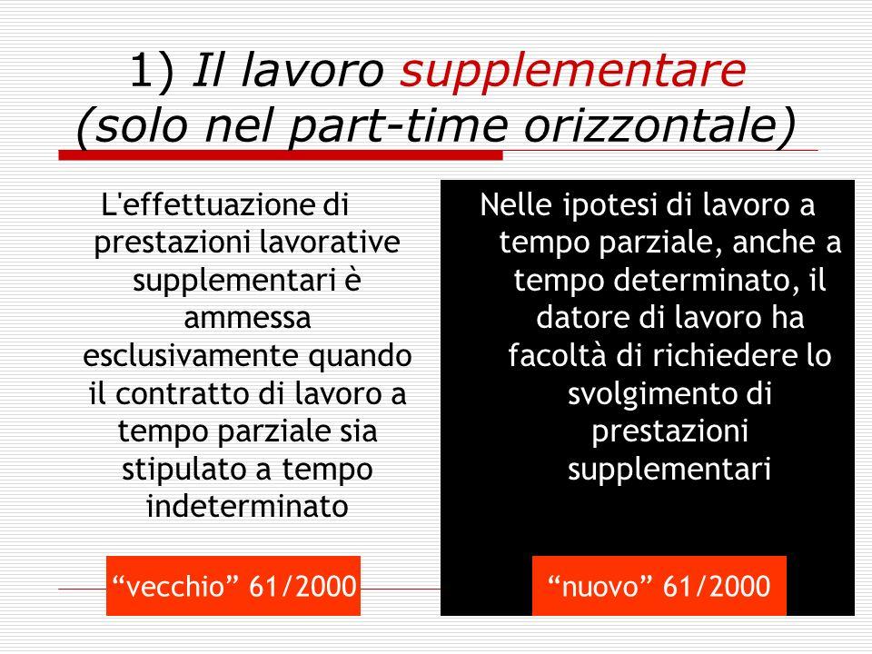 1) Il lavoro supplementare (solo nel part-time orizzontale)