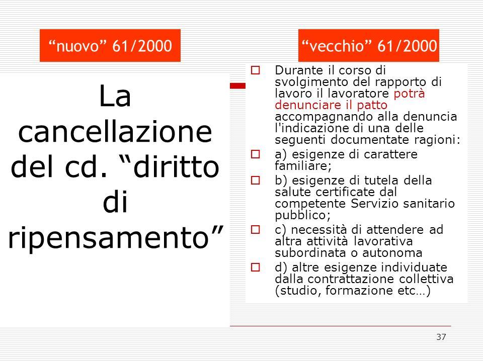 La cancellazione del cd. diritto di ripensamento