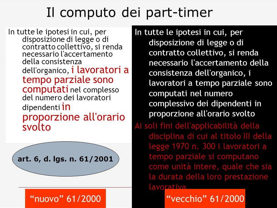 Il computo dei part-timer
