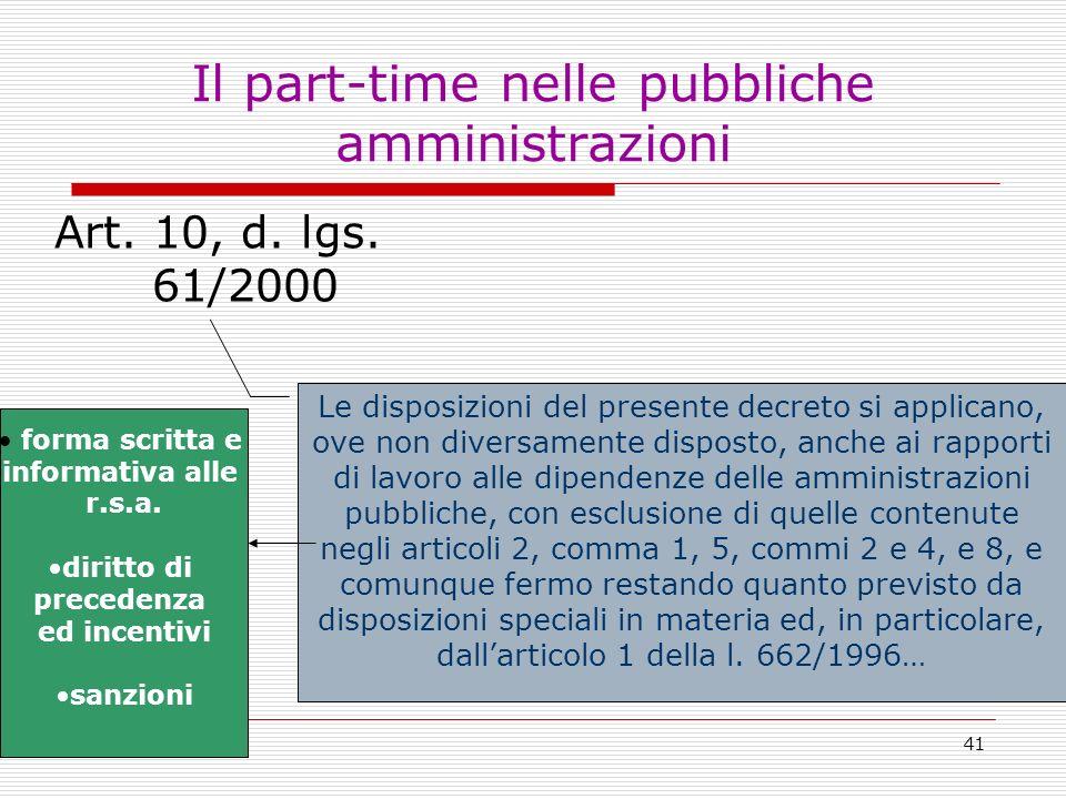 Il part-time nelle pubbliche amministrazioni