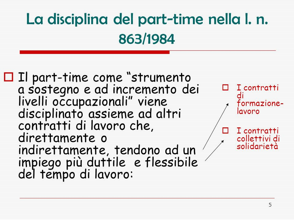 La disciplina del part-time nella l. n. 863/1984