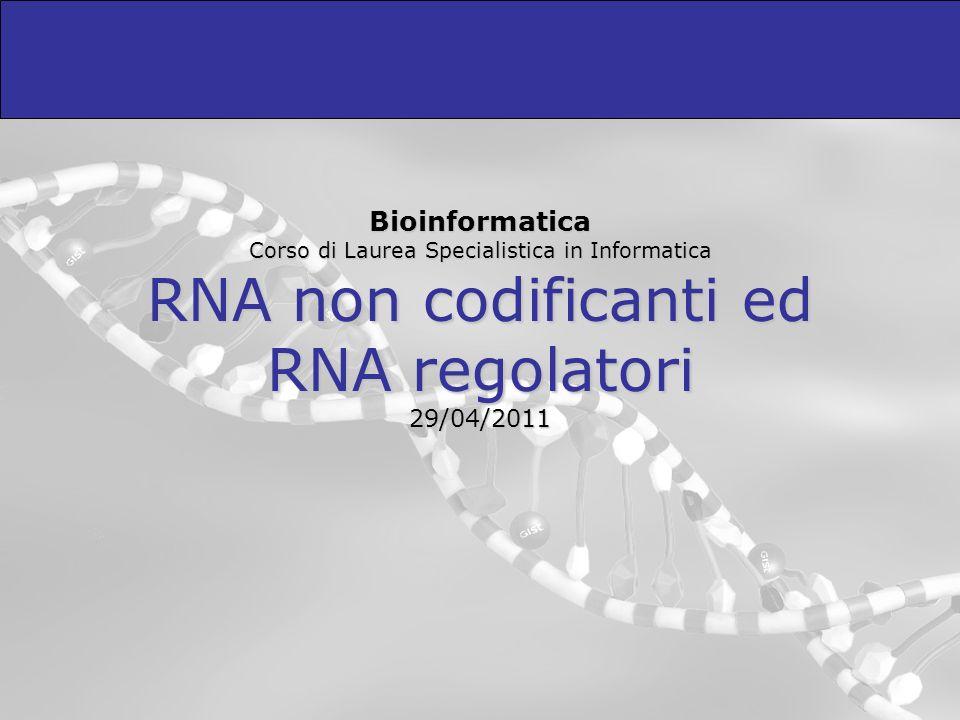 Bioinformatica Corso di Laurea Specialistica in Informatica RNA non codificanti ed RNA regolatori 29/04/2011