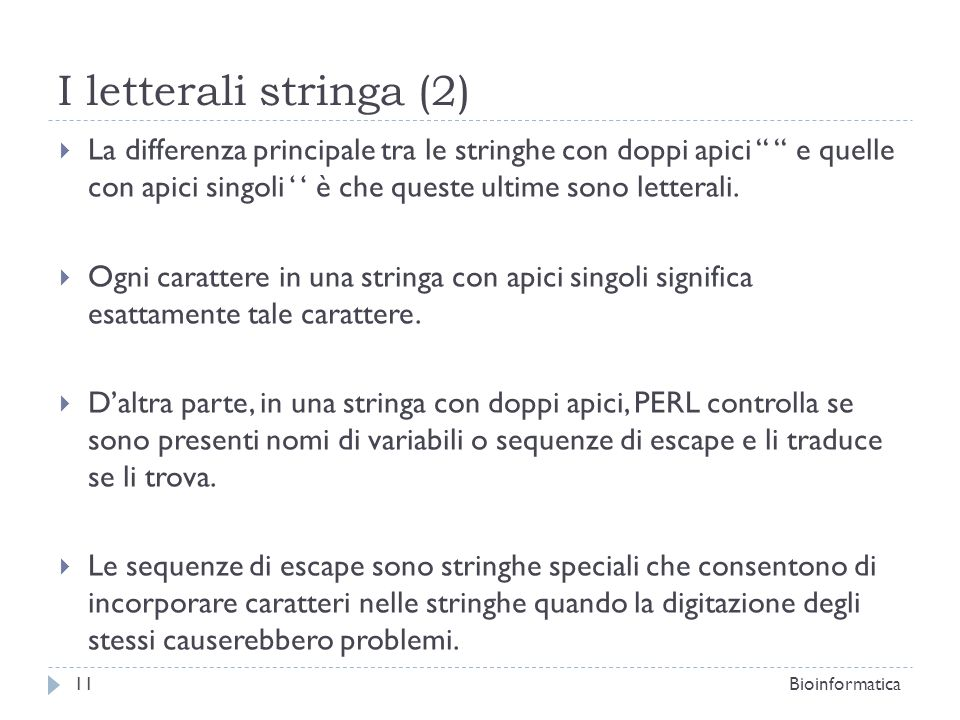 I letterali stringa (2)