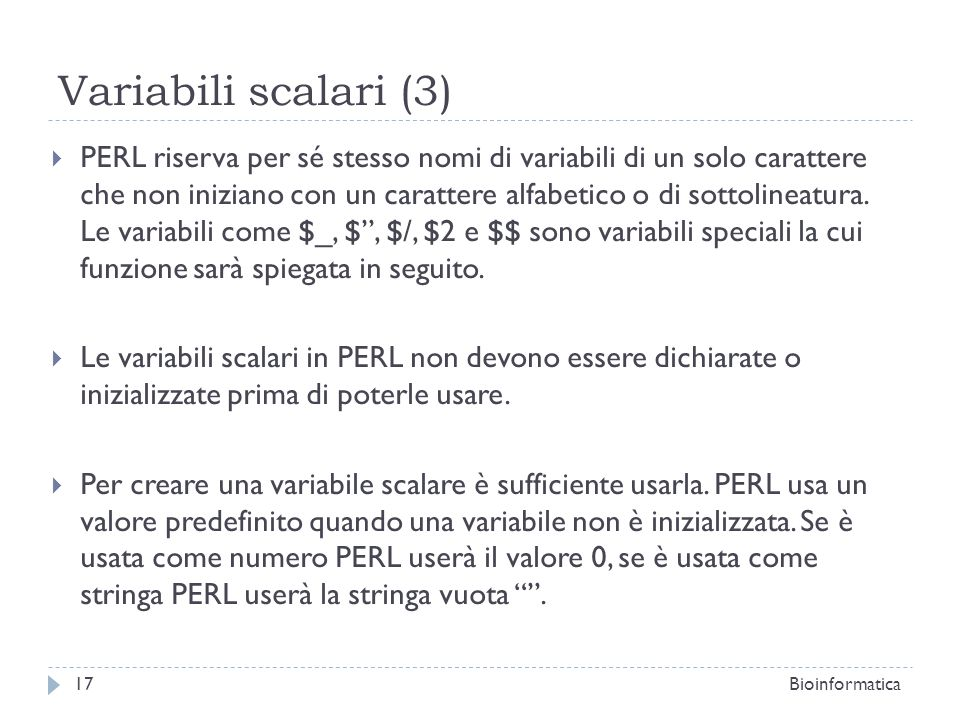 Variabili scalari (3)