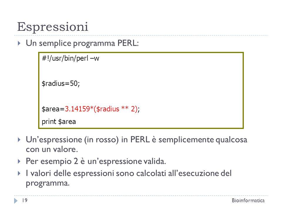 Espressioni Un semplice programma PERL: