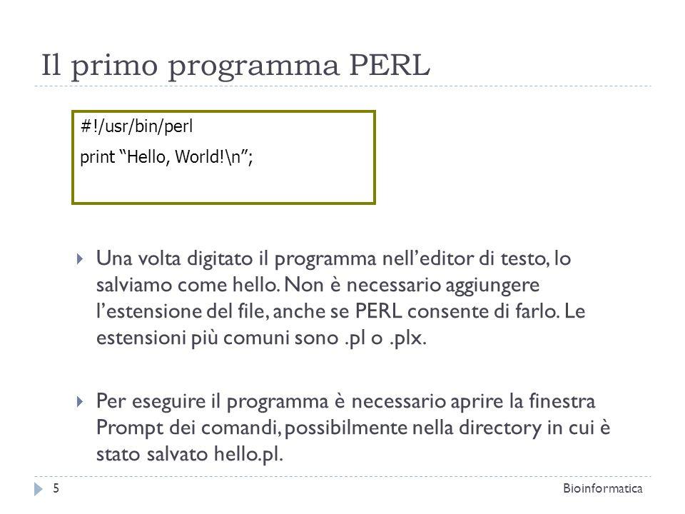 Il primo programma PERL