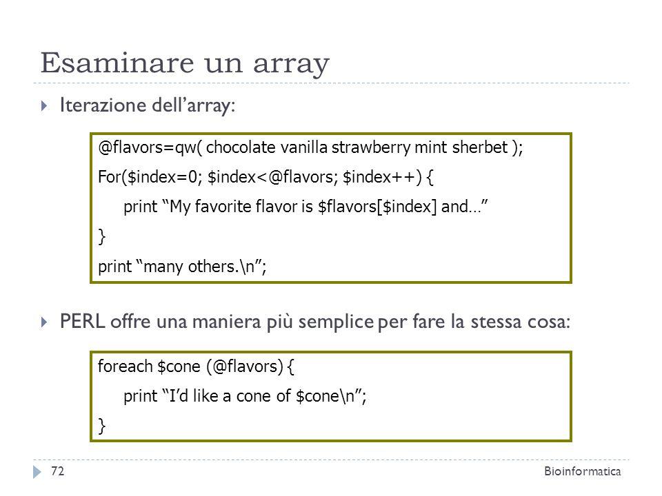 Esaminare un array Iterazione dell'array: