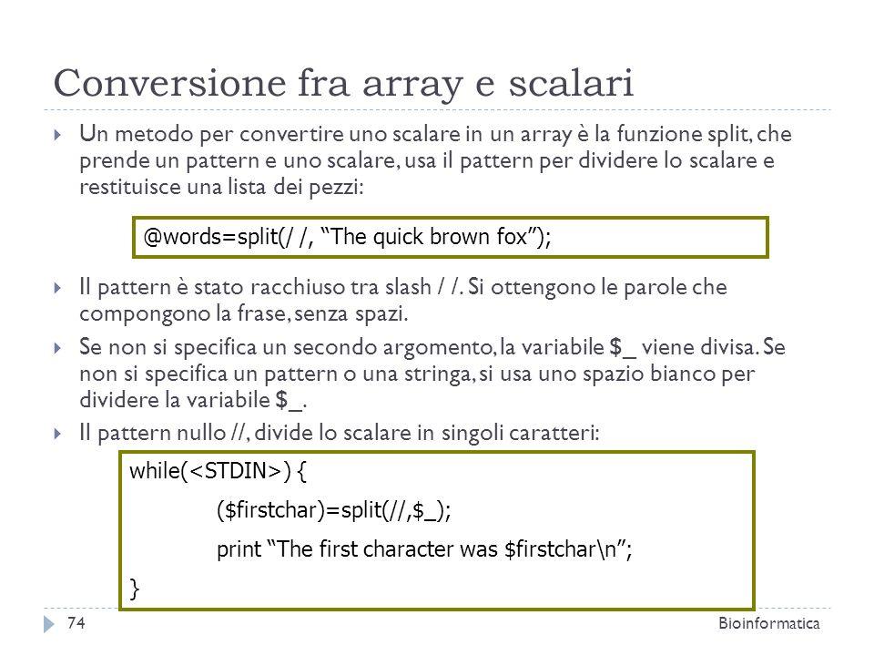 Conversione fra array e scalari
