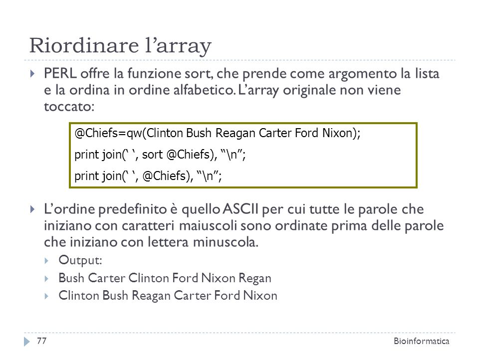Riordinare l'array