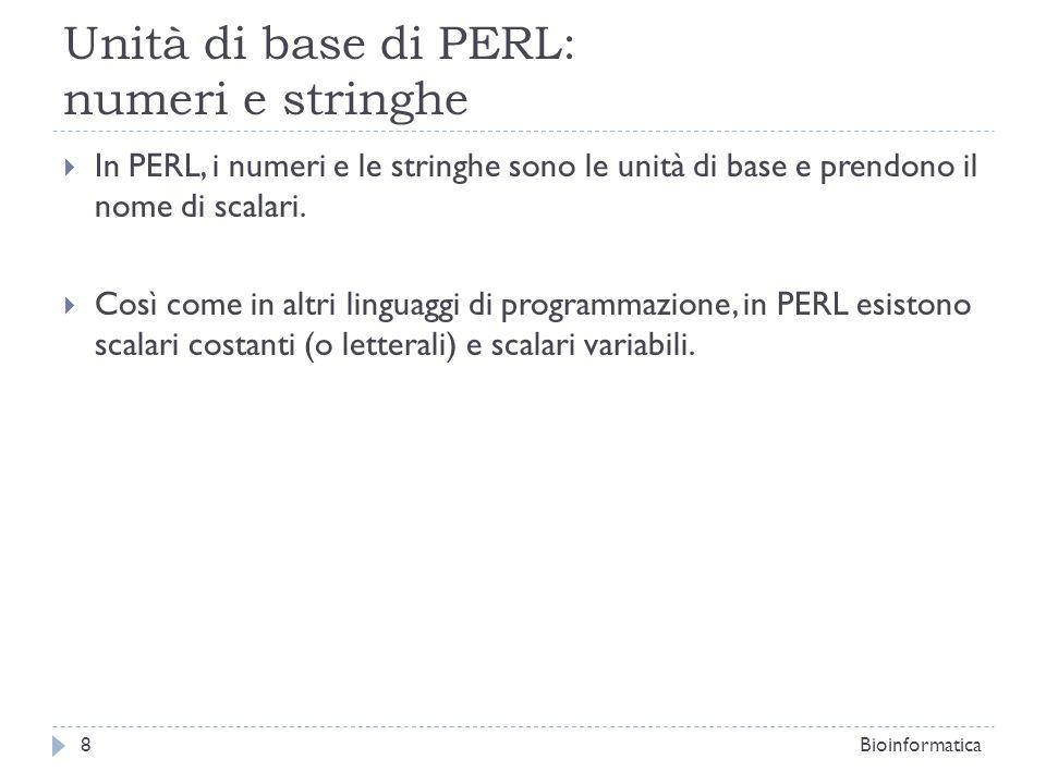Unità di base di PERL: numeri e stringhe