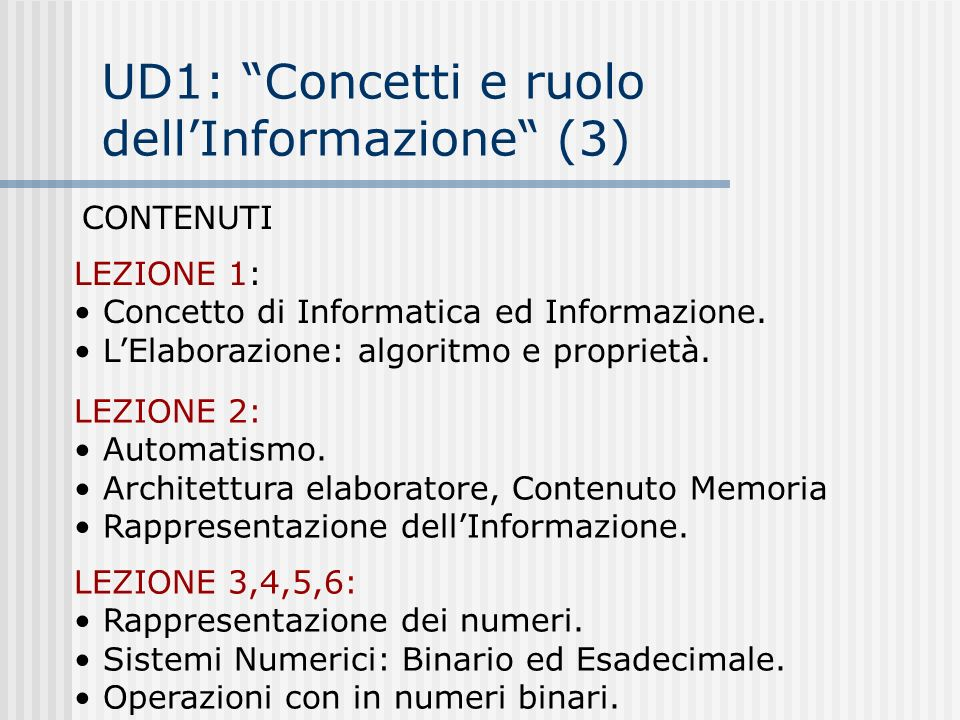 UD1: Concetti e ruolo dell'Informazione (3)